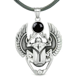 Amulet Egyptian Scarab Rebirth Spiritual Life Magic Powers Black Simulated Onyx Pendant Leather Necklace