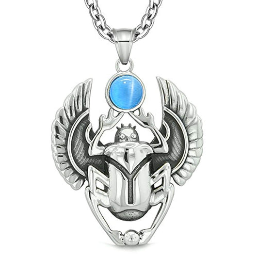 Amulet Egyptian Scarab Rebirth Spiritual Life Power Aqua Blue Simulated Cats Eye Pendant 22 Inch Necklace