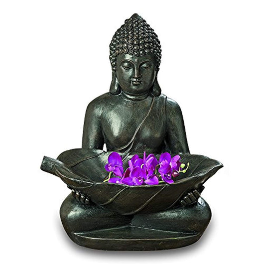 Large Buddha Holding Leaf, Dark Stone Finish, Finely Detailed Garden Sculpture, Artisan Crafted, Durable Cast Magnesia, Over 2 Feet Tall (26 3/4 Inches)