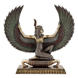 13.5-inch Large Egyptian Winged Maat Goddess of Truth and Justice Real Bronze Powder Cast Statue