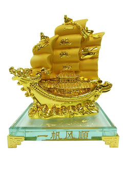 Traditional Chinese Feng Shui Decor Fortune Wealth Prosperity Decorative Statue, Gold Wealth Sailing Ship