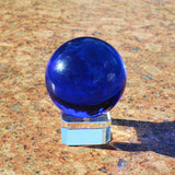 Blue RAINBOW Asian Rare Quartz Crystal Obsidian Ball Natural Feng shui Magic Healing Crystals Balls Sphere gemstone + Stand