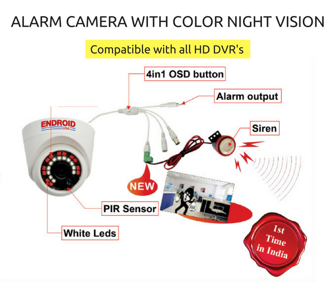 Alarm Camera with PIR Motion Sensor and Colour Night Vision