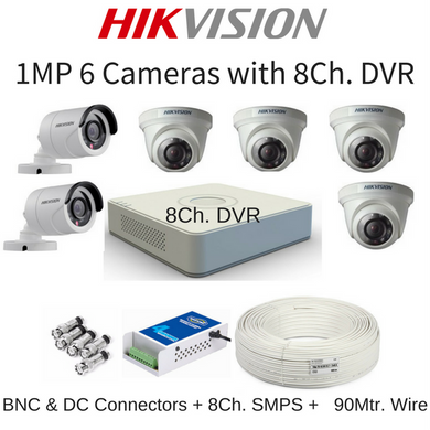 Hikvision 1MP 6 Cameras with 8Ch. DVR Combo Kit