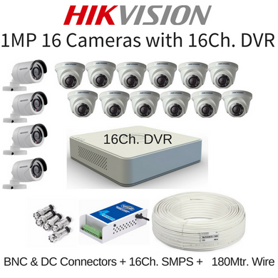 Hikvision 1MP 16 Cameras with 16Ch. DVR Combo Kit