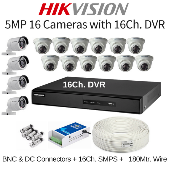 Hikvision 5MP 16 Cameras with 16Ch. DVR Combo Kit