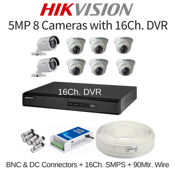 Hikvision 5MP 8 Cameras with 16Ch. DVR Combo Kit