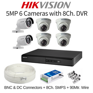 Hikvision 5MP 6 Cameras with 8Ch. DVR Combo Kit