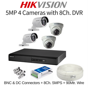 Hikvision 5MP 4 Cameras with 8Ch. DVR Combo Kit