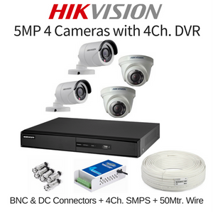 Hikvision 5MP 4 Cameras with DVR Combo Kit