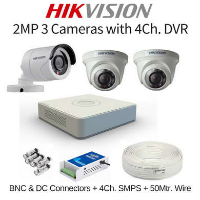 Hikvision 2MP 3 Cameras with DVR Combo Kit