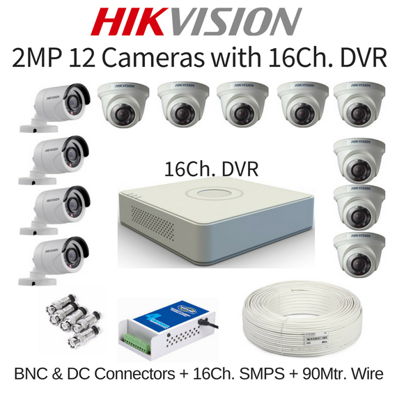 Hikvision 2MP 12 Cameras with 16Ch. DVR Combo Kit