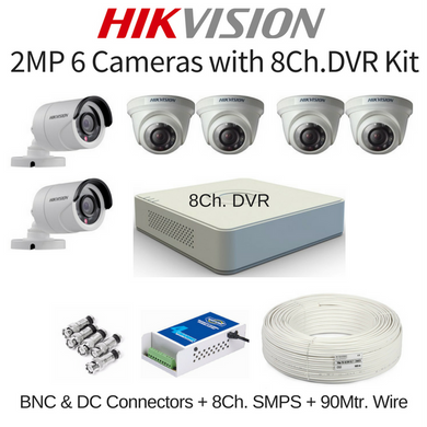 Hikvision 2MP 6 Cameras with 8Ch. DVR Combo Kit