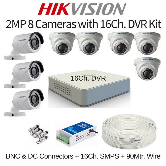 Hikvision 2MP 8 Cameras with 16Ch. DVR Combo Kit