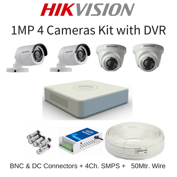 Hikvision 1MP 4 Cameras with DVR Combo Kit