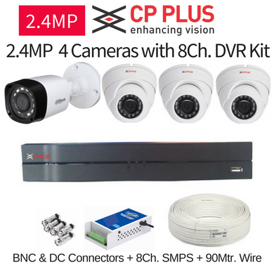 CP Plus 2.4MP FullHD 4 CCTV Cameras with 8Ch. DVR Kit with All Accessories