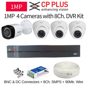 CP Plus 1MP 4 CCTV Camera with 8Ch. DVR Kit with All Accessories