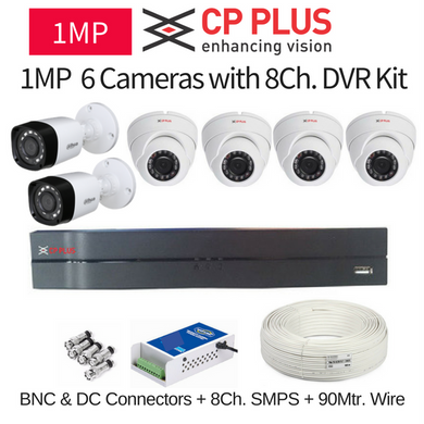 CP Plus 1MP 6 CCTV Camera with 8Ch. DVR Kit with All Accessories