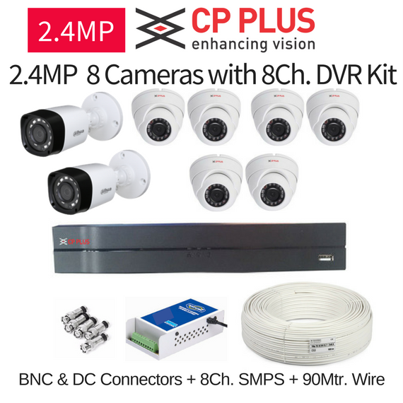 CP Plus 2.4MP FullHD 8 CCTV Cameras with 8Ch. DVR Kit with All Accessories