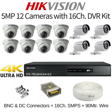 Hikvision 5MP 12 Cameras with 16Ch. DVR Combo Kit