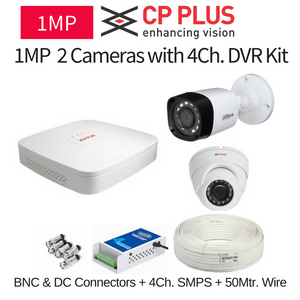CP Plus 1MP 2 CCTV Camera with DVR Kit with All Accessories