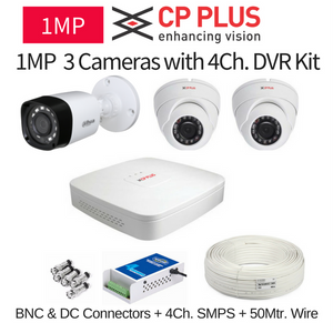 CP Plus 1MP 3 CCTV Camera with DVR Kit with All Accessories