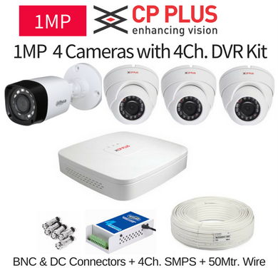 CP Plus 1MP 4 CCTV Camera with DVR Kit with All Accessories