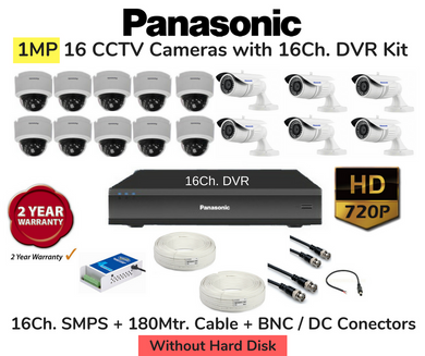 Panasonic 16 HD CCTV Cameras (1MP) with 16Ch. DVR Combo Kit