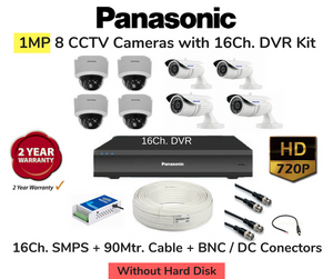 Panasonic 8 HD CCTV Cameras (1MP) with 16Ch. DVR Combo Kit