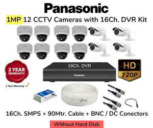 Panasonic (1MP) 12 HD CCTV Cameras with 16Ch. DVR Combo Kit