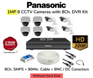 Panasonic (1MP) 8 HD CCTV Cameras with 8Ch. DVR Combo Kit