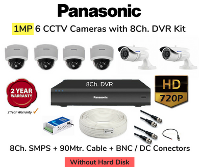 Panasonic 6 HD CCTV Cameras (1MP) with 8Ch. DVR Combo Kit