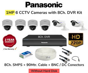 Panasonic (1MP) 6 HD CCTV Cameras with 8Ch. DVR Combo Kit