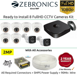 Zebronics 8 FullHD CCTV Cameras with 8Ch. DVR Kit (2MP)