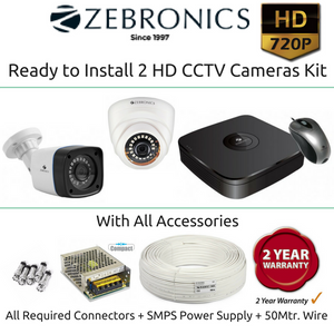 Zebronics 2 HD CCTV Cameras with 4Ch. DVR Kit (1MP)