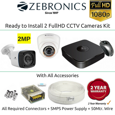 Zebronics 2 FullHD CCTV Cameras with 4Ch. DVR Kit (2MP)