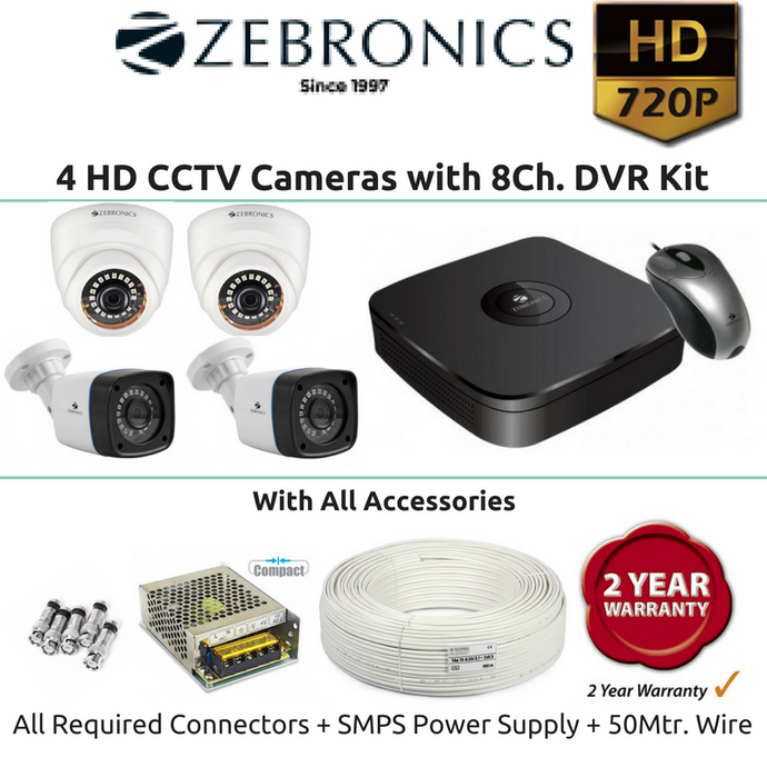 Zebronics 4 HD CCTV Cameras with 8Ch. DVR Kit (1MP)