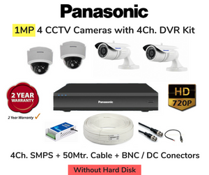 Panasonic Pro-HD+ 4 CCTV Cameras (1MP) with DVR Combo Kit (4 Cameras Kit)