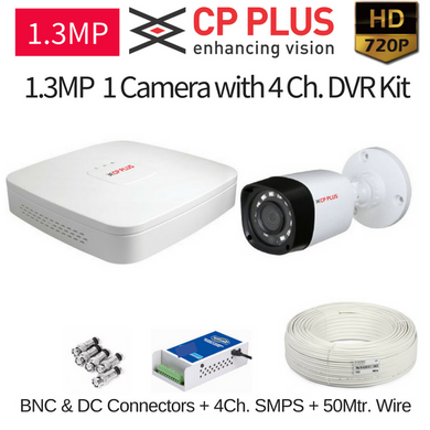 CPPLUS 1HD CCTV Cameras (1.3MP) with 4Ch. HD DVR Kit