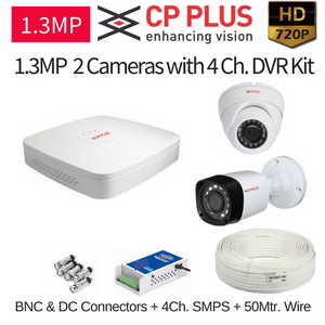 CPPLUS 2HD CCTV Cameras (1.3MP) with 4Ch. HD DVR Kit
