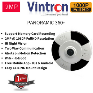 Wifi Wireless FullHD 2MP CCTV Camera wit Memory Card Recording Option 360 Panoramic