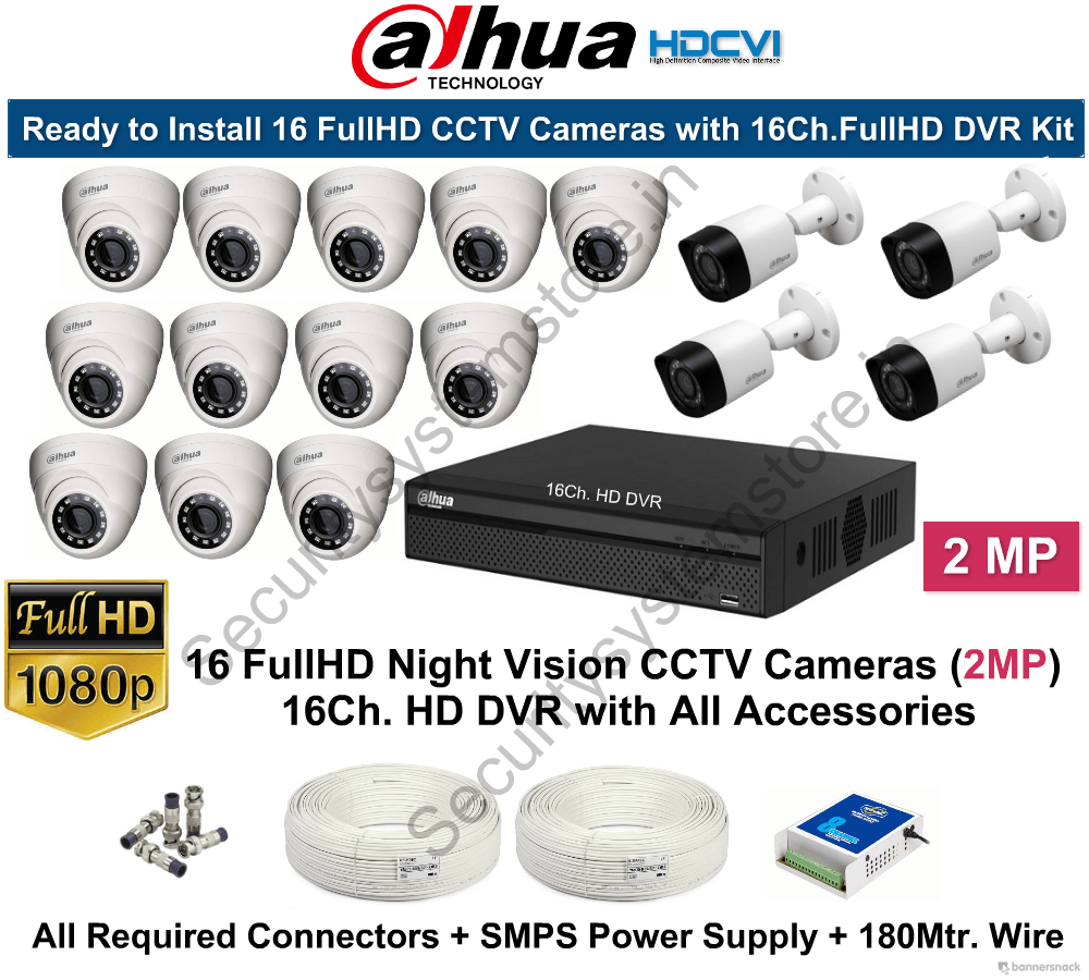 Dahua 2mp Fullhd 16 Cctv Cameras With 16ch Dvr Kit Security Wiring System Mart