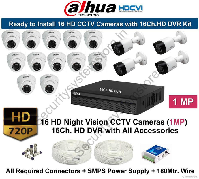 Dahua (1MP) 16 HD CCTV Cameras with 16Ch. HD DVR Kit