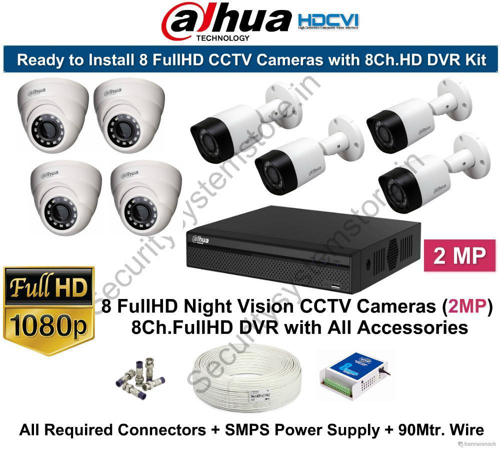 Dahua 2mp Fullhd 8 Cctv Cameras With 8ch Dvr Kit Security Wiring System Mart