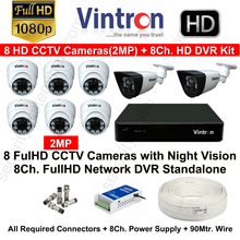 Vintron 8 FullHD CCTV Cameras (2MP) with 8Ch. HD DVR Kit