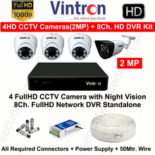 Vintron 4 FullHD CCTV Cameras (2MP) with 8Ch. HD DVR Kit