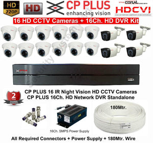 CPPLUS 16 HD CCTV Cameras (1.3MP) with 16Ch. HD DVR Kit - Security System Store