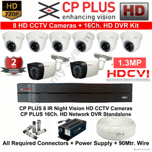 CPPLUS 8HD CCTV Cameras (1.3MP) with 16Ch. HD DVR Kit - Security System Store