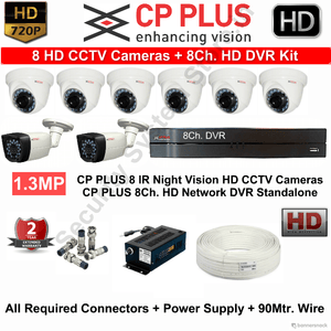 CPPLUS 8HD CCTV Cameras (1.3MP) with 8Ch. HD DVR Kit - Security System Store
