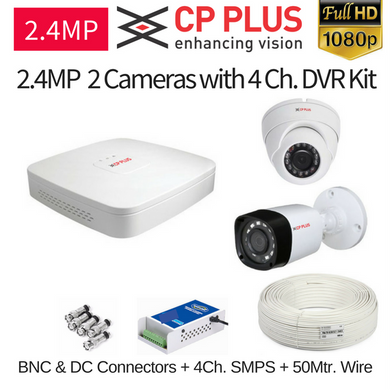 CP Plus 2.4MP FullHD 2 CCTV Camera with DVR Kit with All Accessories